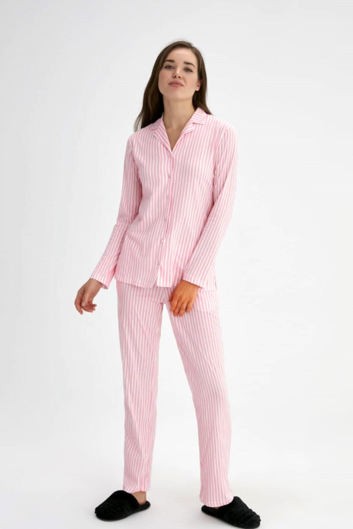 Eros Pijama %100 Pamuklu Önden Düğmeli Pembe Çizgili Kadın Pijama Takımı (özel Kutusunda) 1