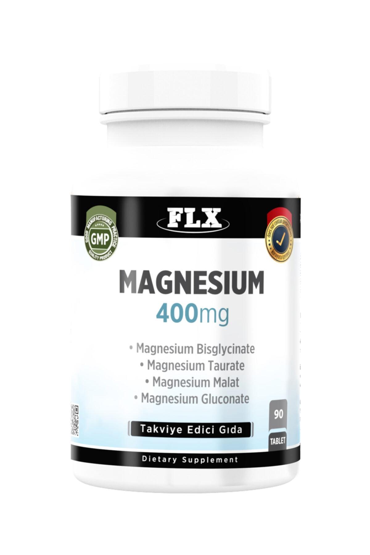FLX 90 Tablet Magnezyum Elementleri Complex 400 Mg Bisglisinat Malat Taurat Glukonat 1