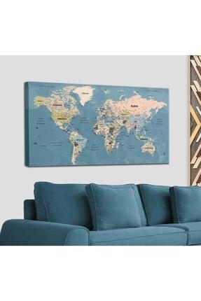 Harita Sepeti Türkçe Dünya Haritası Son Derece Ayrıntılı Eğitici-öğretici Okyanuslu Dekoratif Kanvas Tablo 2522