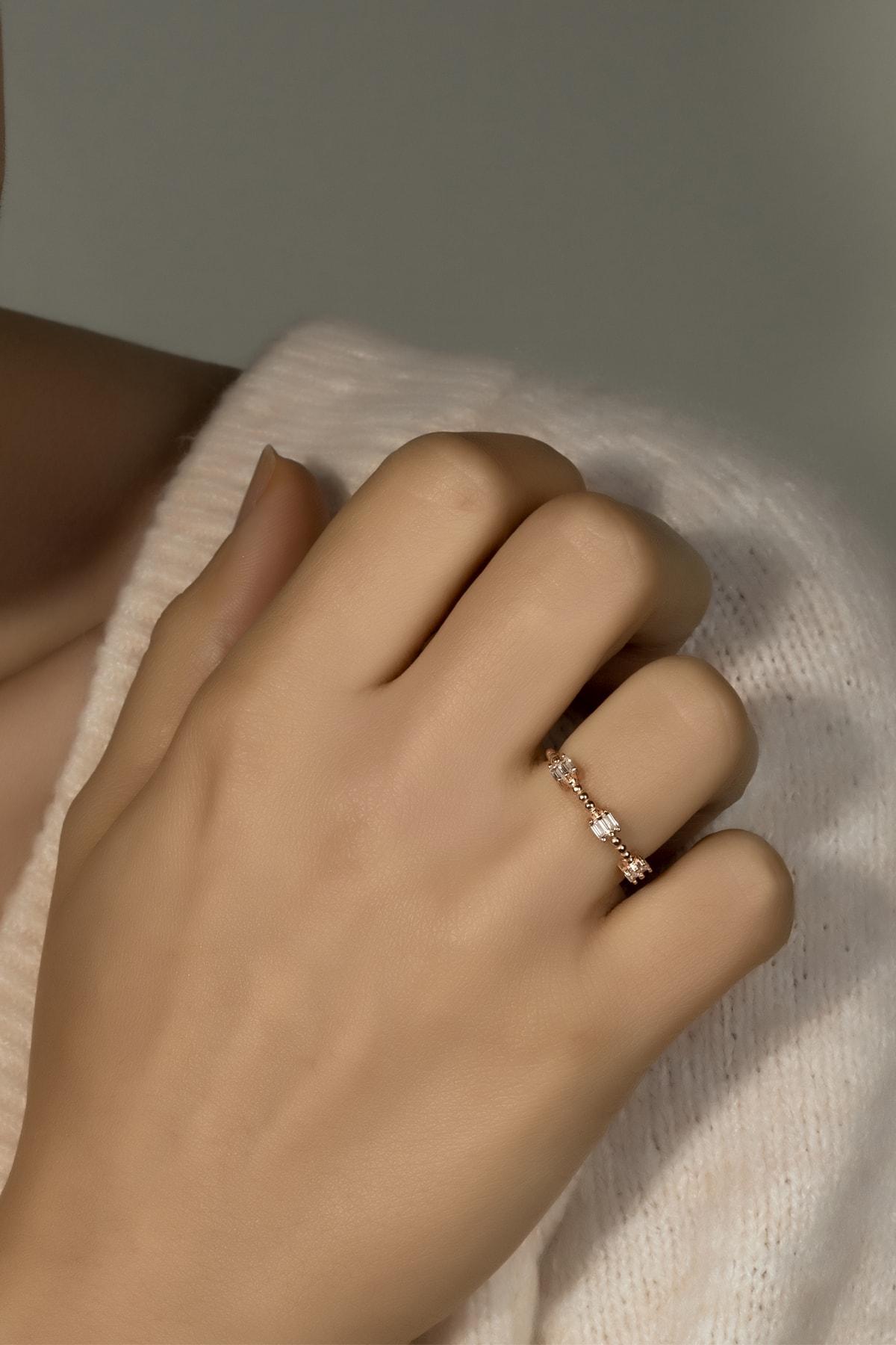 Else Silver Kadın Pırlanta Montör Baget Taşlı Mini Gümüş Yüzük 1
