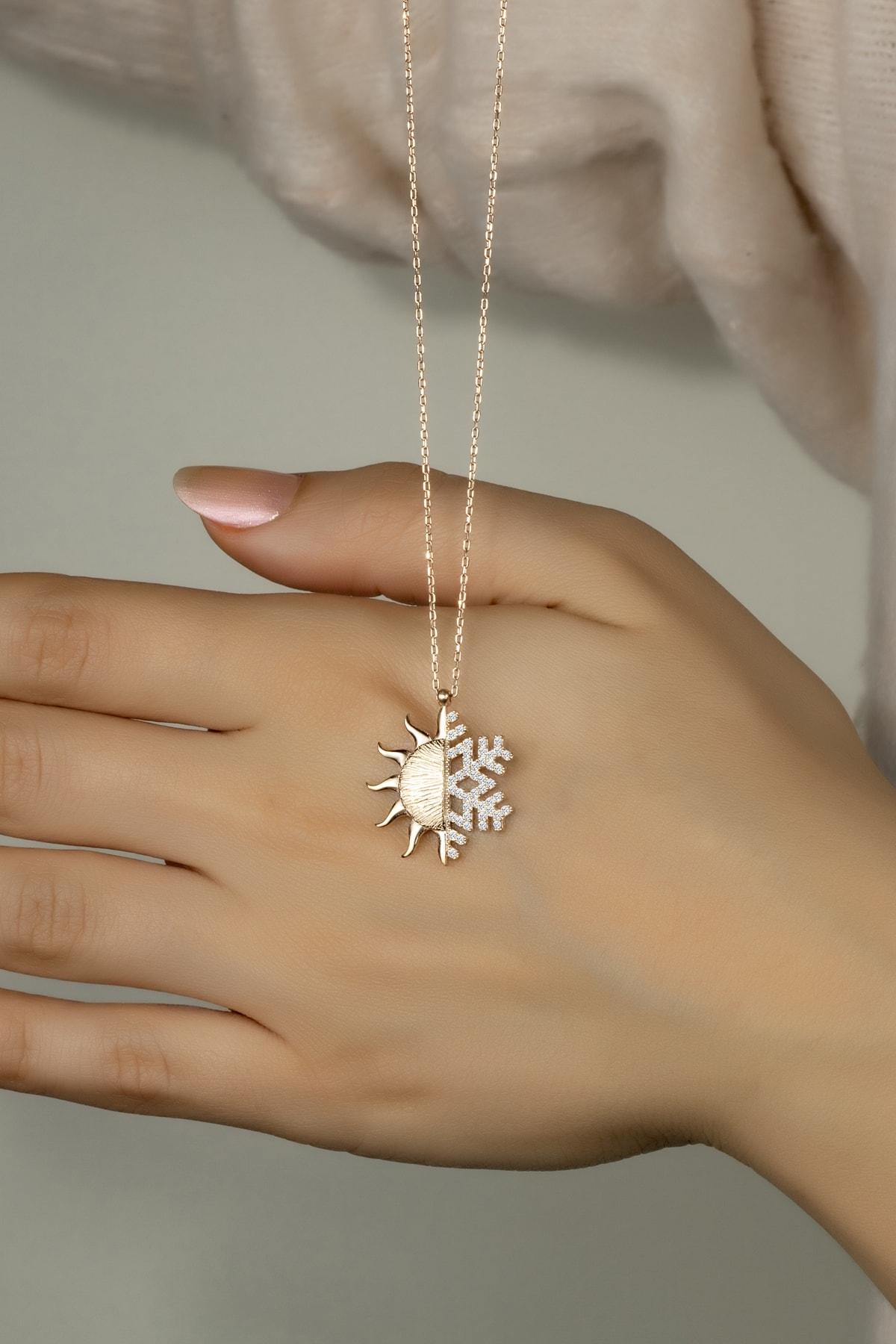 Else Silver 925 Ayar Gümüş Kar Tanesi - Güneş Kolye 1