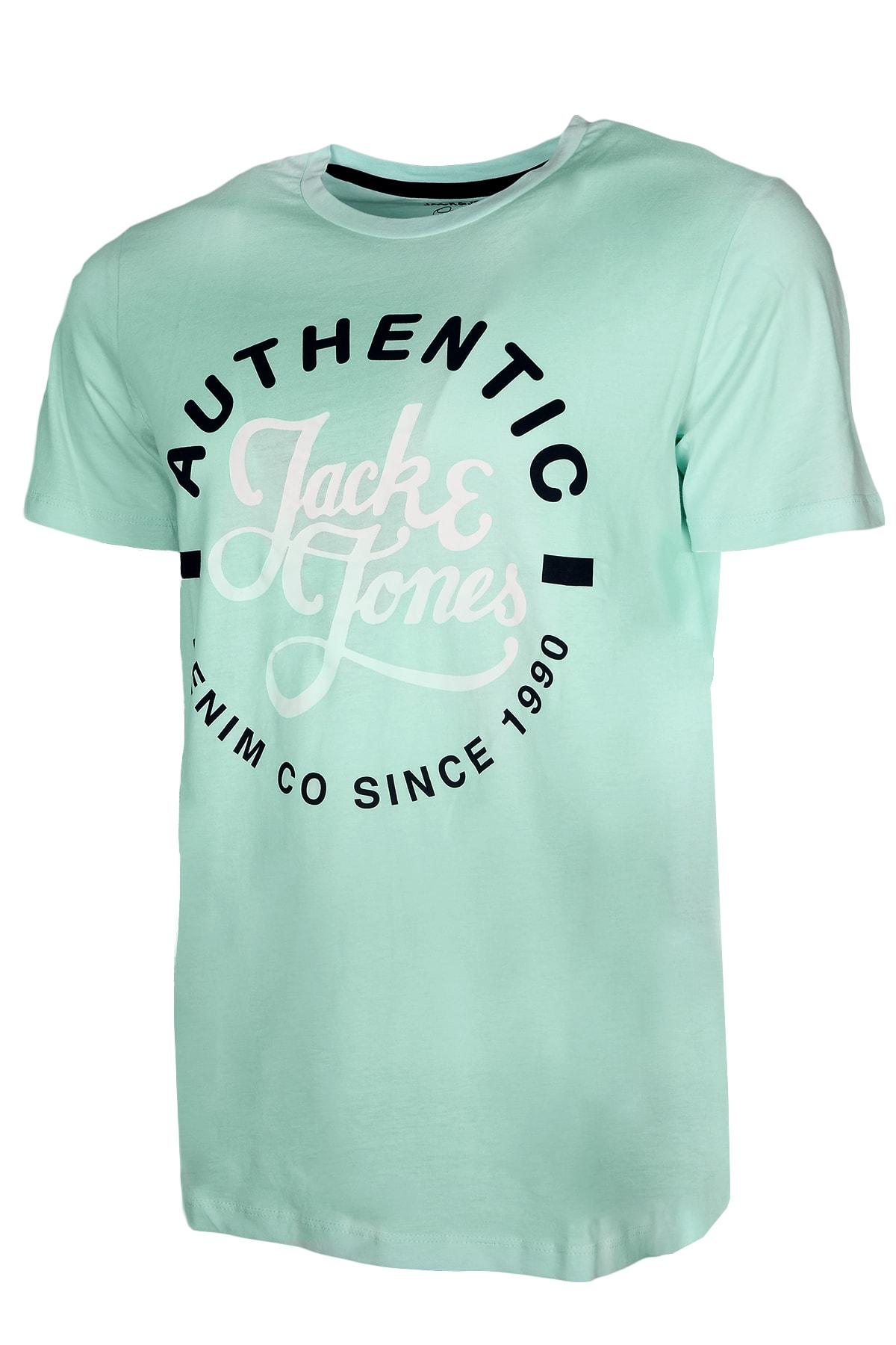 Jack & Jones Erkek Su Yeşili 0 Yaka Tshirt 12182323 2