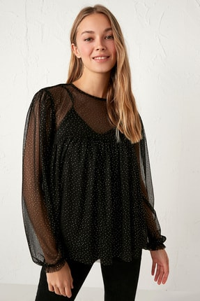 LC Waikiki Kadın Yeni Siyah Bluz 0WFS13Z8