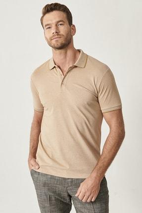 ALTINYILDIZ CLASSICS Erkek Vizon Düğmeli Polo Yaka Cepsiz Slim Fit Dar Kesim Düz Tişört