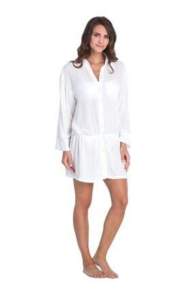 Dagi Kadın Beyaz İp Bağlı Viskon Gömlek Pareo