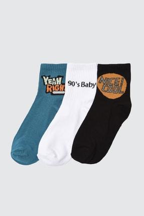 TRENDYOLMİLLA 3'lü Çok Renkli Örme Çorap TWOAW21CO0117