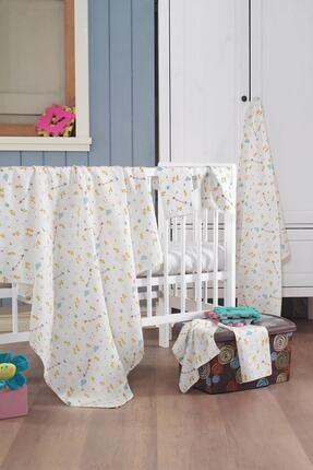 Evim Home Sarı Müslin Bebek Battaniye + Ağız Bezi (4 Lü) 120*120