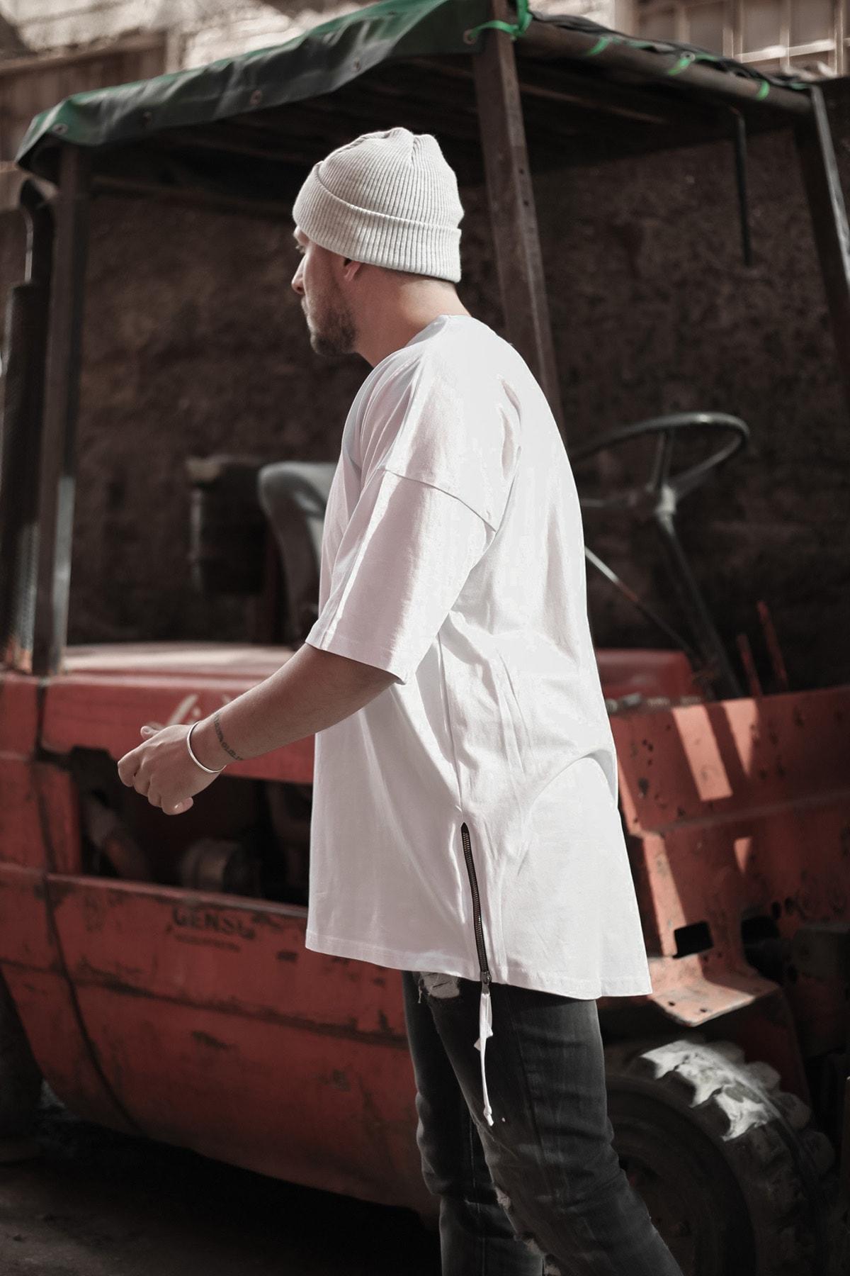 XHAN Erkek  Beyaz Fermuar Detaylı T-shirt 1kxe1-44339-01 2