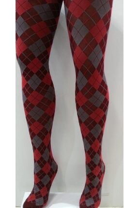 Penti Kadın  Bordo Desenli Ekose Külotlu Çorap