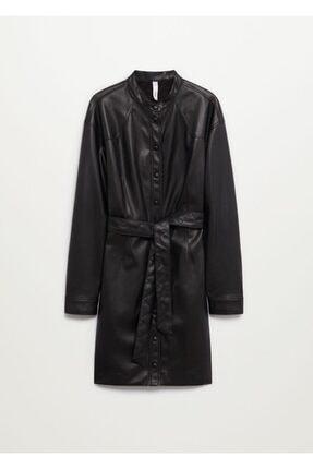 MANGO Woman Kadın Siyah Suni Deri Gömlek Elbise