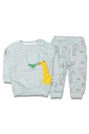 GG Bambino Erkek Bebek  Zürafa Işlemeli Kabartma Desenli Yeşil 2'li Takım
