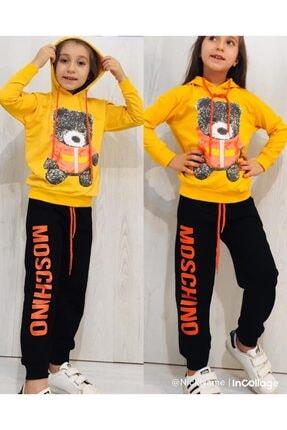 Moschino Kız Çocuk Sarı Kapüşonlu Ayıcıklı Takım 2li