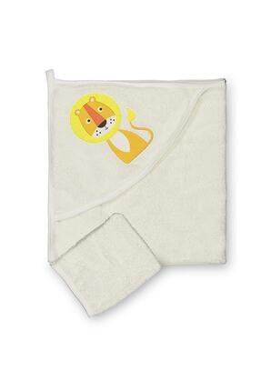 BUUDE Erkek Bebek Ekru Aslan Figürlü Banyo Havlusu Kese 2'li Takım Bud-6979