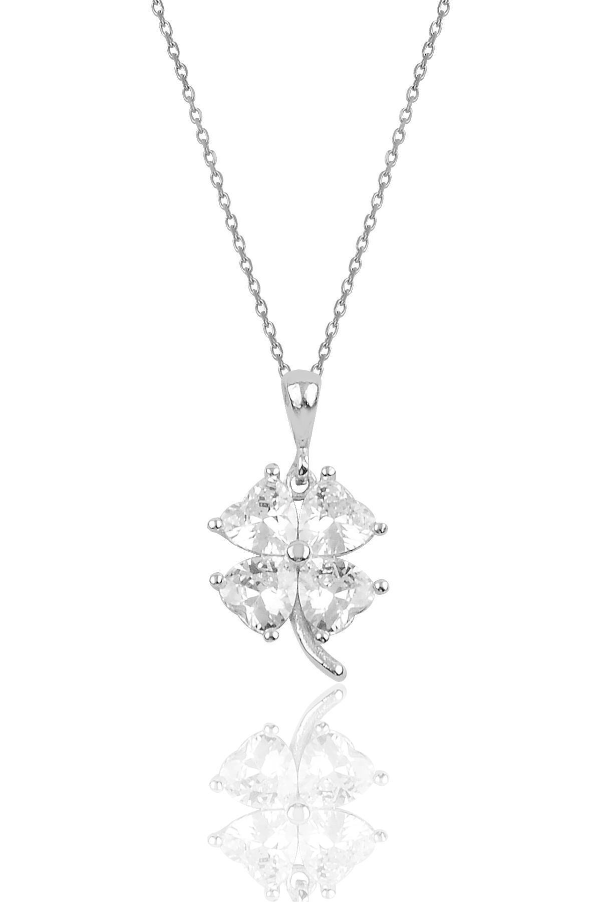 Söğütlü Silver Gümüş Zirkon Taşlı Yonca Modeli Kolye Sgtl10089beyaz 1