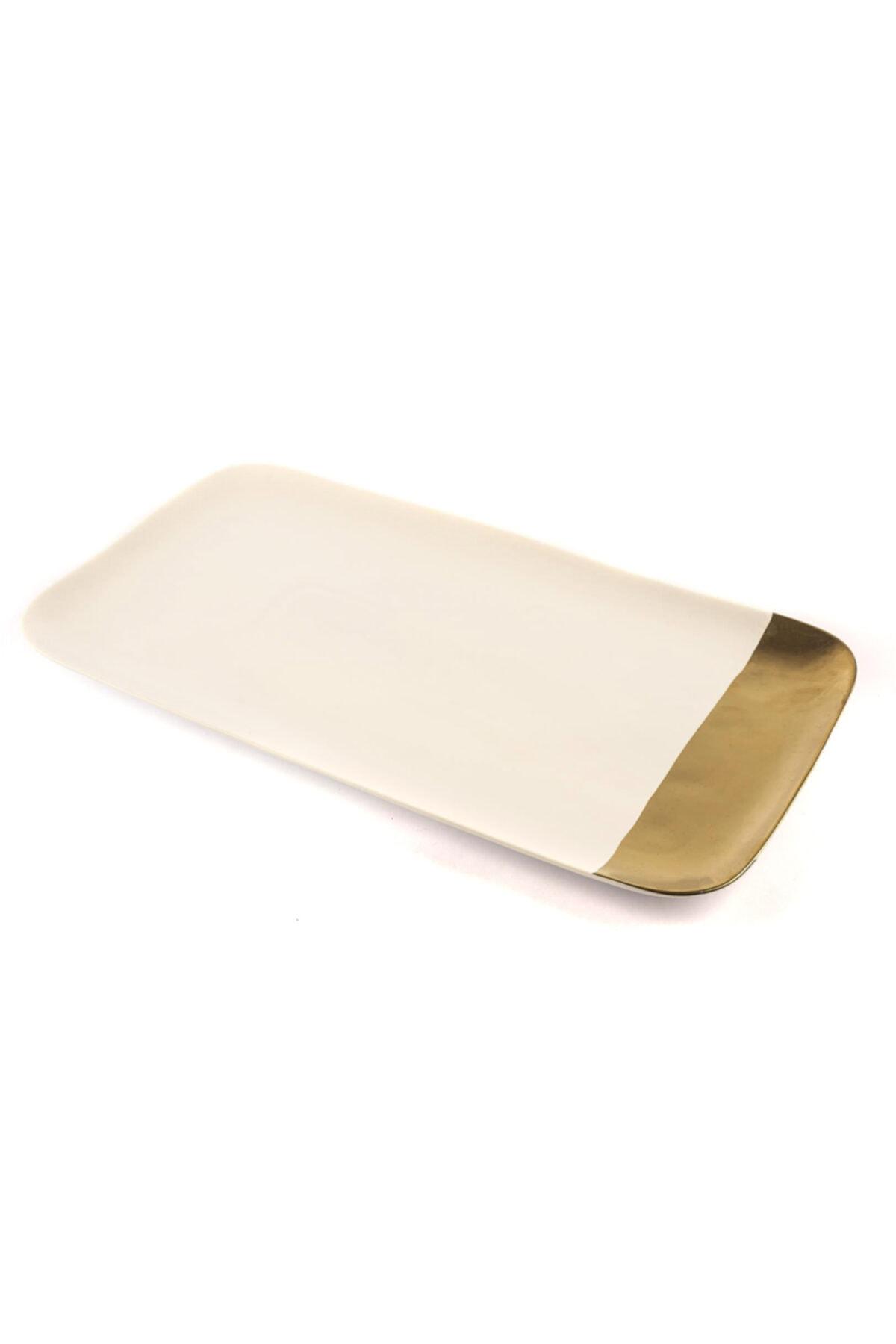 Mikasa Moor Porselen Beyaz Gold Dikdörtgen Servis 22x40 cm 1