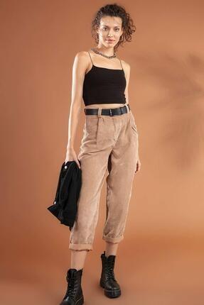 Pattaya Kadın Yüksek Bel Duble Paça Fitilli Kadife Pantolon 10431