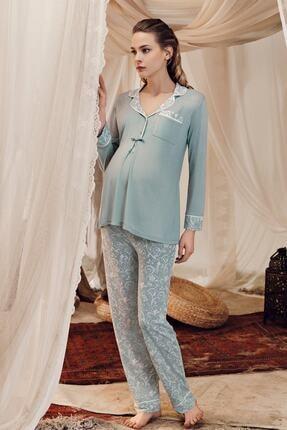 Artış Çağla Yeşili Desenli Pamuklu Viskon Lohusa Pijama Takım 8220-1