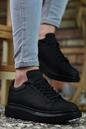 Riccon 3D Baskılı Siyah Siyah Erkek Sneaker
