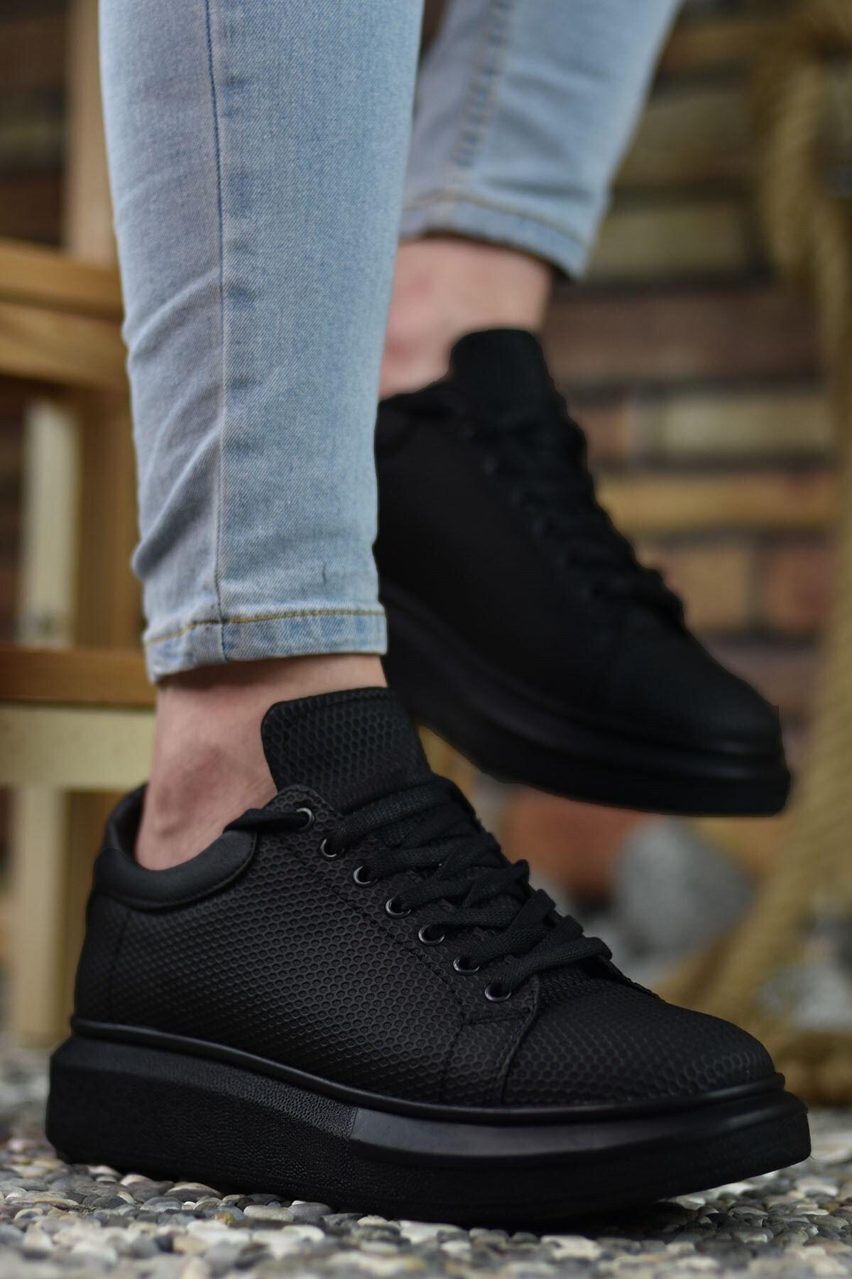 Riccon 3D Baskılı Siyah Siyah Erkek Sneaker 1