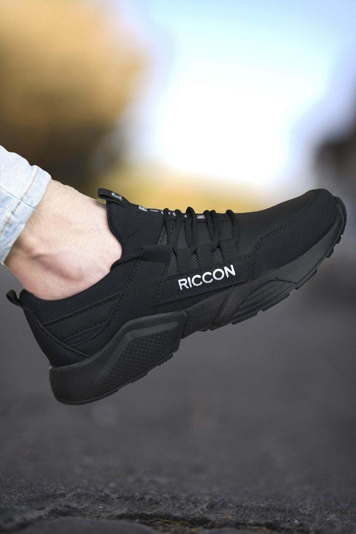 Riccon Unisex Siyah Cilt Sneaker 0012072 2