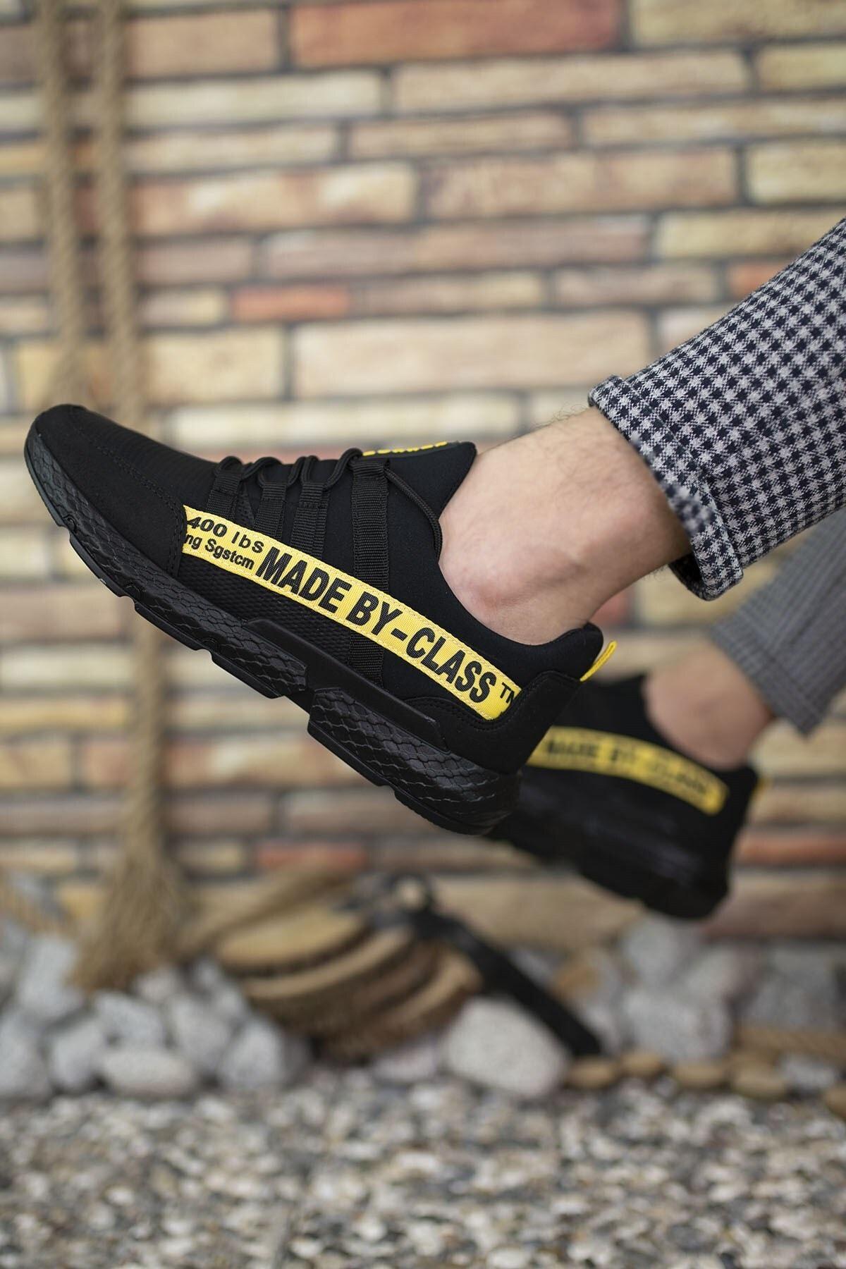 Riccon Siyah Sarı Erkek Cilt Sneaker 0012SANTO 2