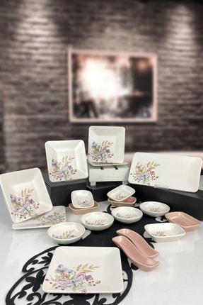 Keramika Kelebek Bahar Serisi 19 Parça 6 Kişilik Kahvaltı Takımı