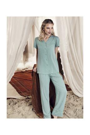Artış Kadın Çağla Yeşil Pamuklu Dokuma Pijama Takım-8206-3