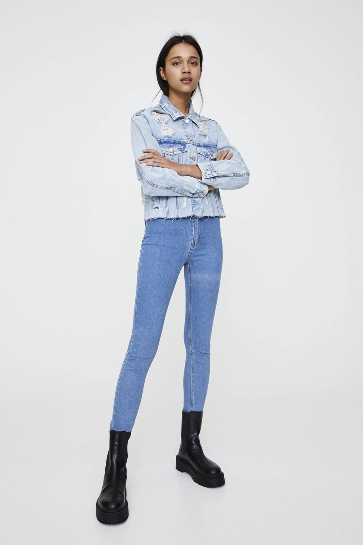 Pull & Bear Kadın Soluk Mavi Yüksek Bel Skinny Jean 09684309 1
