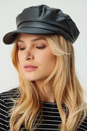 Trend Alaçatı Stili Kadın Siyah Suni Deri Kasket Şapka ALC-A2058