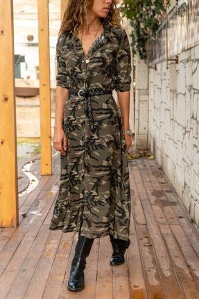 Güneşkızı Kadın Multi Kamuflaj Desenli Uzun Gömlek Elbise Gk-bstk4438