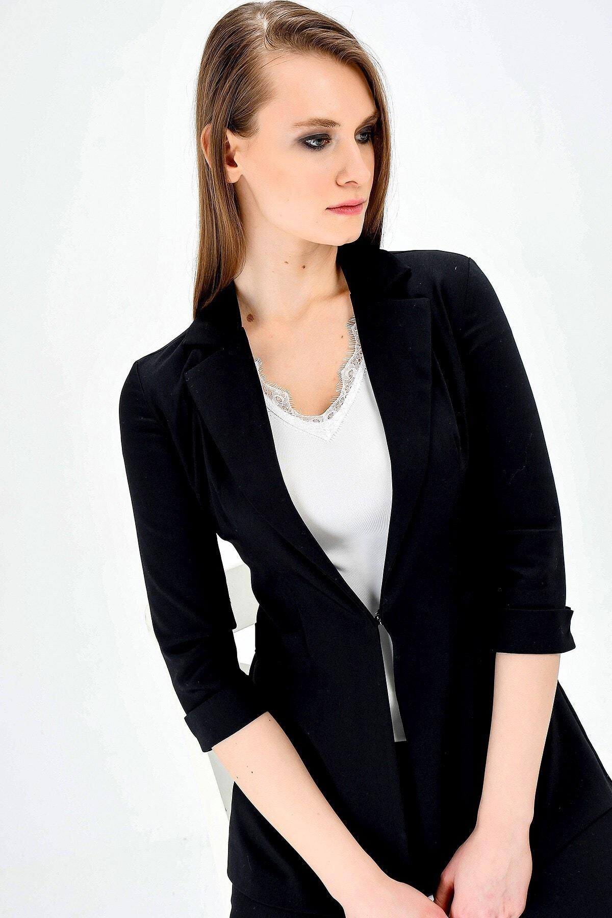 Jument Kadın Normal Bel Cepli Bilek Boy Ofis Likralı Kumaş Pantolon-siyah 2