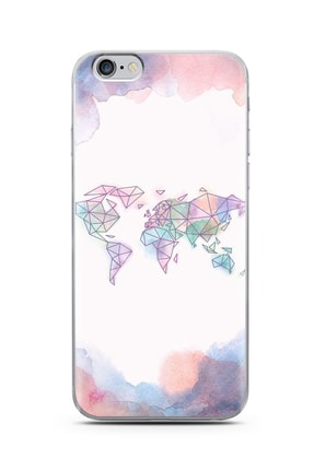 Spoyi Iphone 6 Plus Gökkuşağı Harita Tasarım Silikon Telefon Kılıfı