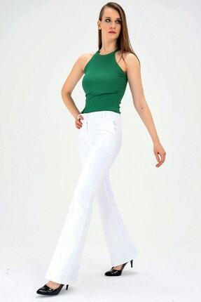 Jument Kalın Kemerli Cepli Ispanyol Bol Paça Likralı Kumaş Pantolon-beyaz