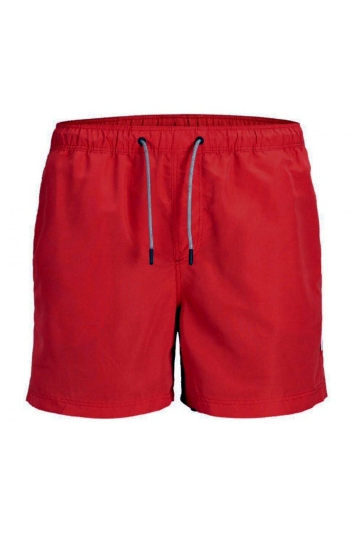 Jack & Jones Erkek Kırmızı Lastikli Deniz Şortu 1