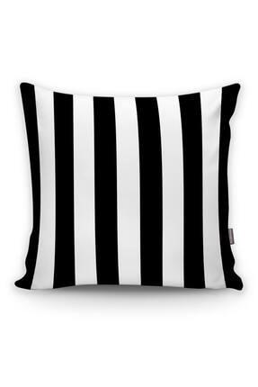 Realhomes Siyah Beyaz Çizgili Dekoratif Yastık Kırlent Kılıfı