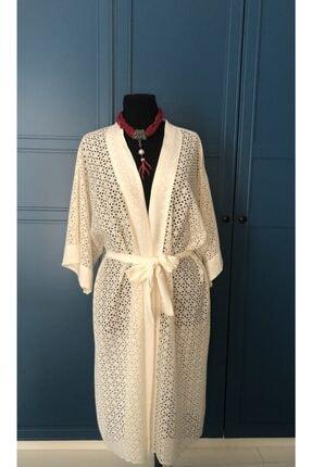 etamincebursa Kadın Bej Keten Nakışlı Kimono
