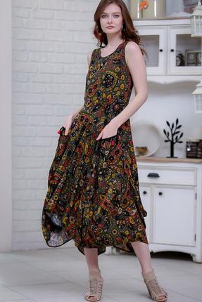 Chiccy Kadın Yeşil Bohem Şal Desenli Püsküllü Cep Detaylı Asimetrik Salaş Dokuma Elbise M10160000el97262