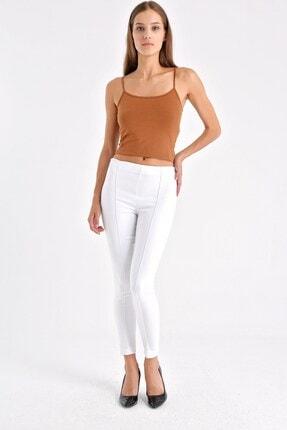Jument Kadın Beyaz Ön Arka Dikişli Dar Paça Tayt Pantolon - Beyaz 40004