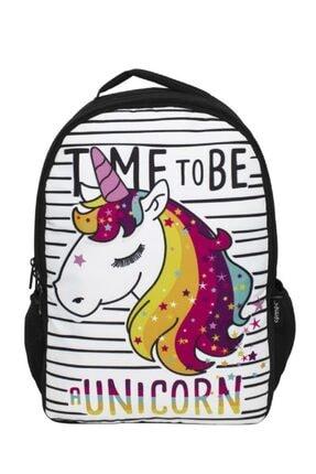Cennec Kız Çocuk Beyaz Unicorn Baskılı Okul Çantası