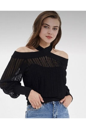 Nisan Triko Kadın Siyah Madonna Yaka Dantel Bluz