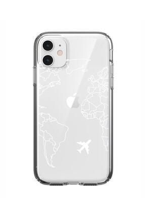 mooodcase Iphone 11 World Map Lines Premium Şeffaf Silikon Kılıf Beyaz Baskılı