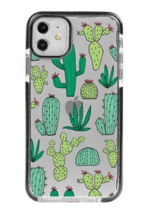 Gritty Iphone 11 Kaktüs Patern Siyah Impact Case Telefon Kılıfı