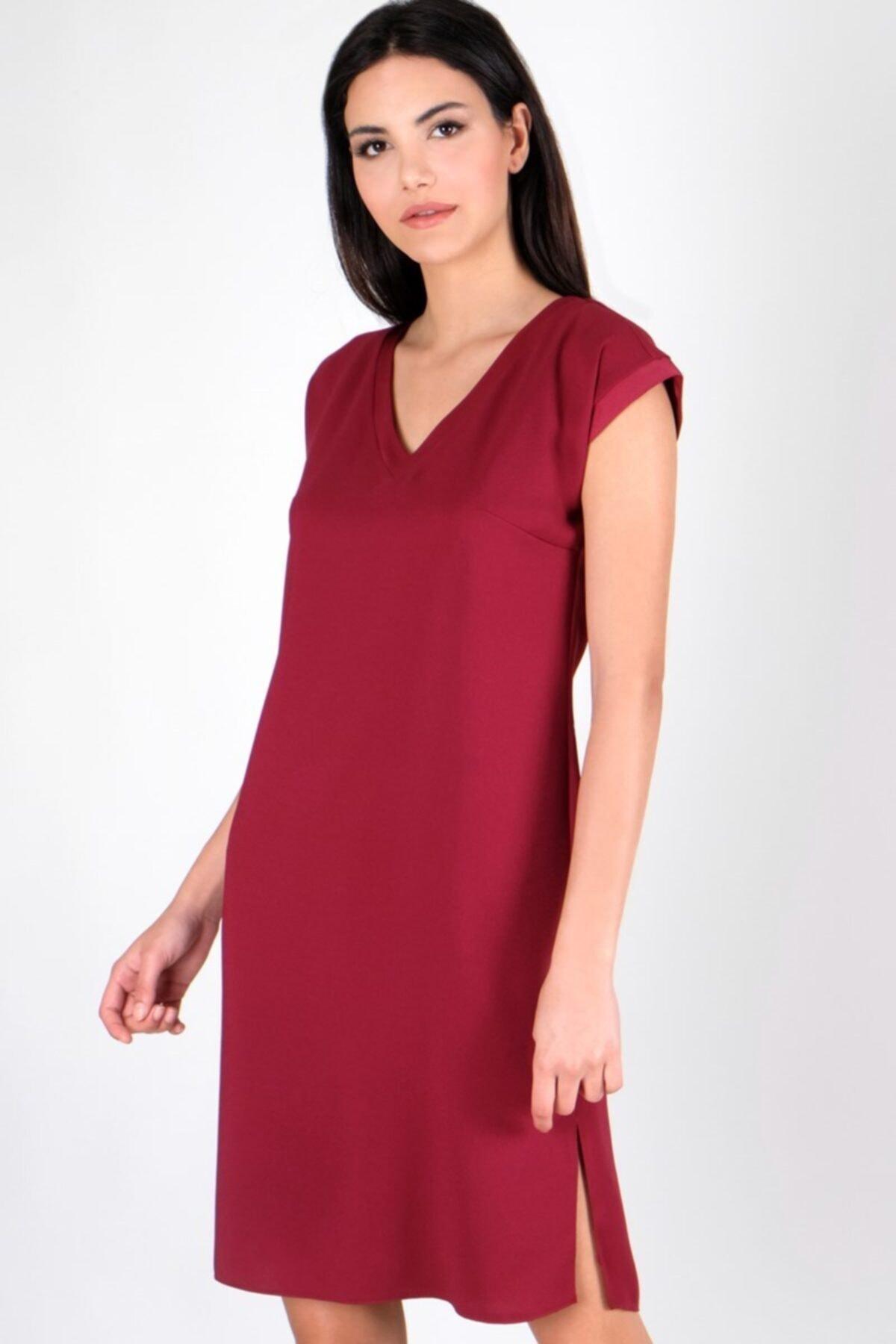 Spazio Kadın Bordo Manuelo V Yaka Sırtı Düğmeli Bantlı Elbise 50095795 2