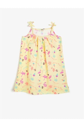 Koton Kız Çocuk Sarı Askılı Kolsuz Desenli Elbise