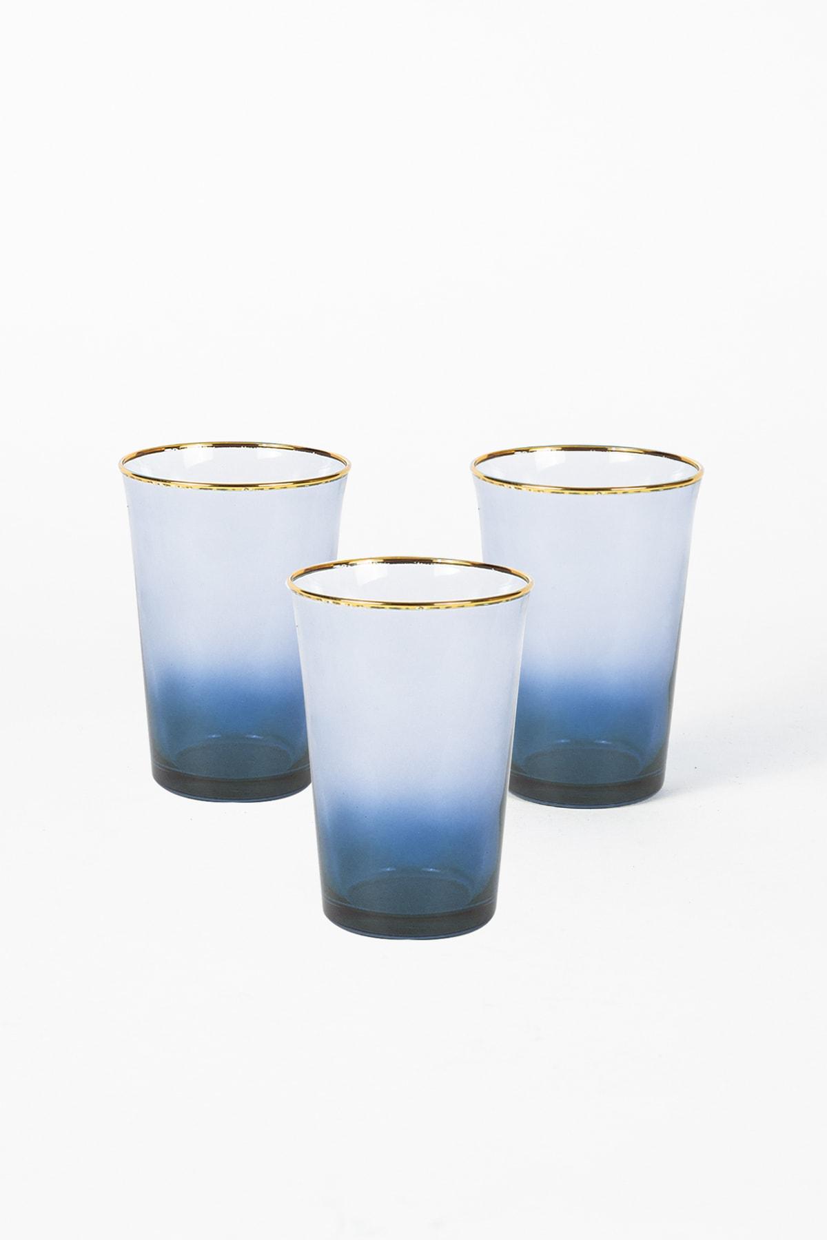 Rakle Mavi Gold Iconic 3'lü Su Bardağı Seti 290 cc 2