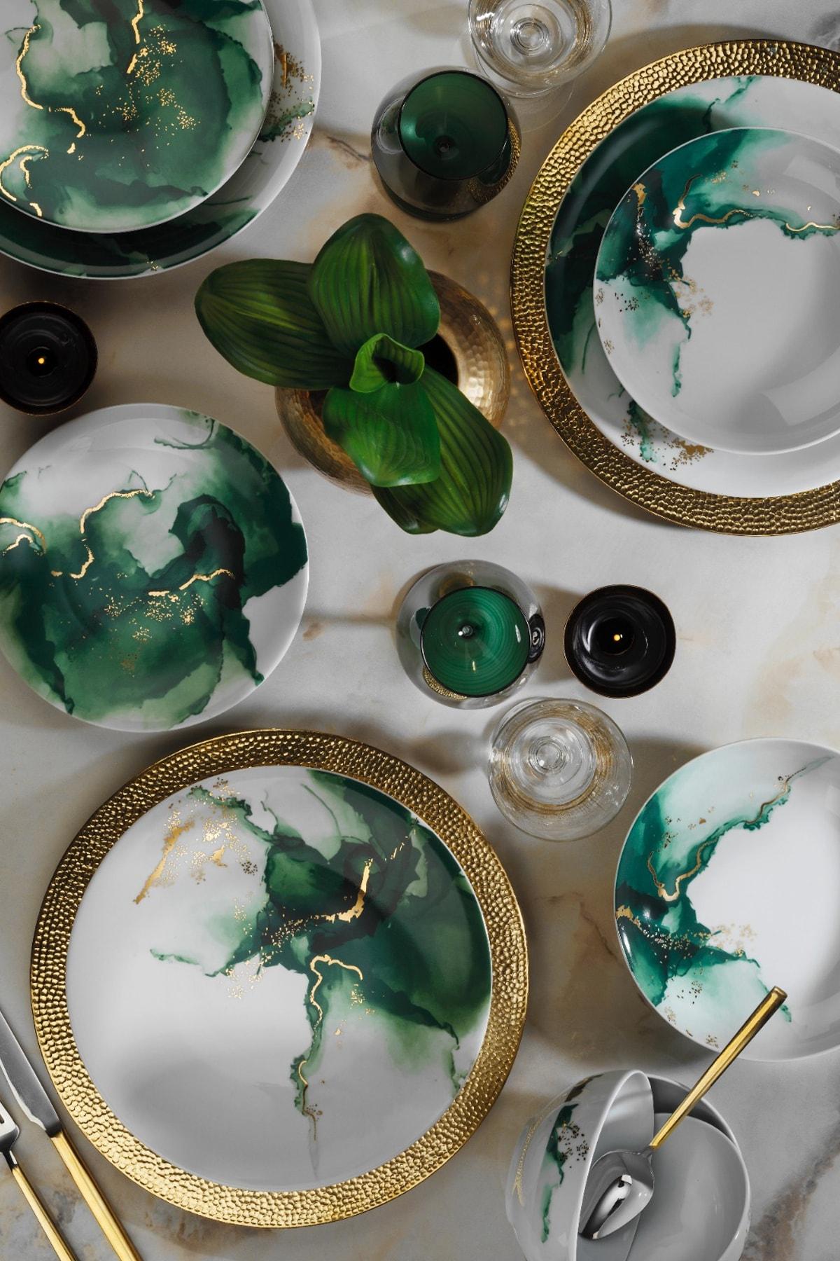 Kütahya Porselen Altın Varaklı 24 Parça Dekor Yemek Takımı 1