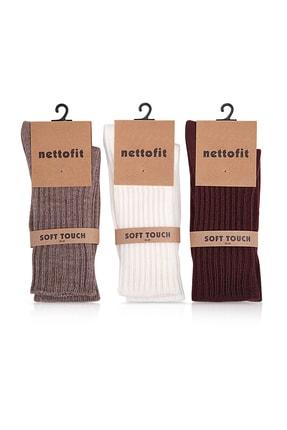 nettofit 3'lü Kışlık Kadın Yünlü Uyku Çorabı Soft Touch