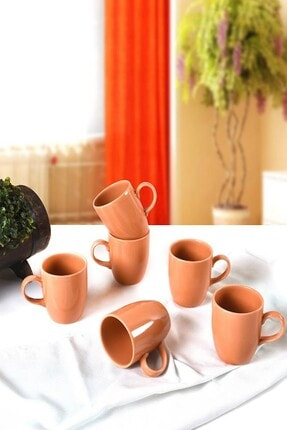 Keramika Turuncu Cam Göbeği Bulut Kupa 9 Cm 6 Adet
