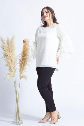 Moda Berray Kadın Ekru Kolları Fırfırlı Büyük Beden Bluz 28009