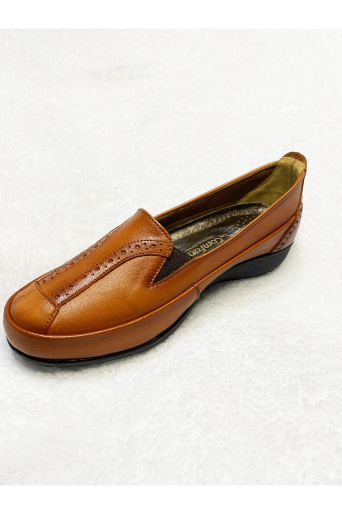 Gülperi Comfort Taba Hakiki Deri Kadın Kemik Ayakkabısı 2